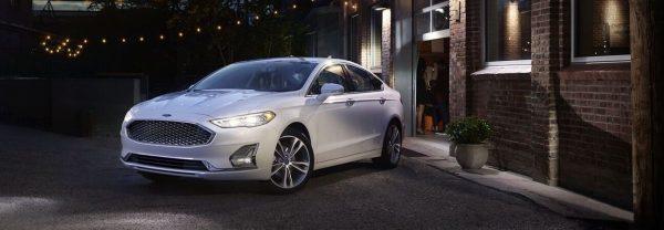 2020 Ford Fusion white sedan